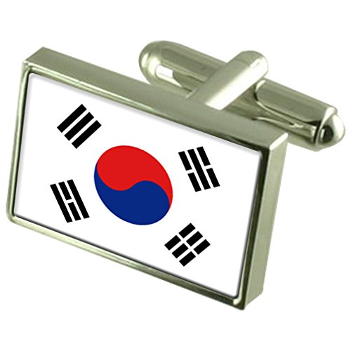 South Korea Sterling Silver Flag Cufflinks by Select Gifts