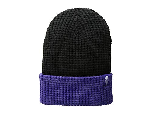 The North Face Kids Unisex Waffle Beanie (Big Kids) TNF Black/Deep Blue MD