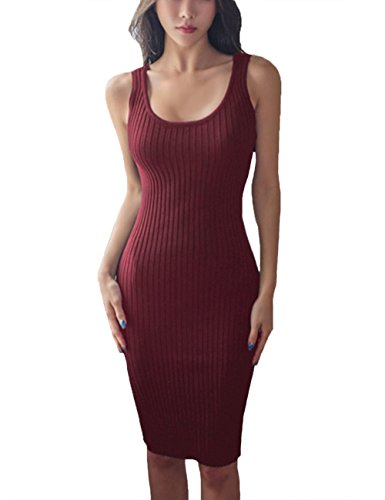 FAIMILORY Cotton Knitted Scoop Neck Stretch Knee Length Bodycon Casual Midi Tank Dress (L, Maroon) - Neck Knitted Dress