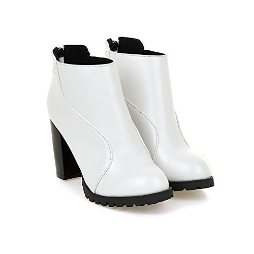 Boots Top Soft Material Low White Allhqfashion Closed Zipper Round Toe High Women's Heels RPTwqxv