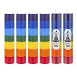 """Mega Candles 6 pcs Unscented Multi Color Chakra Round Pillar Candle 