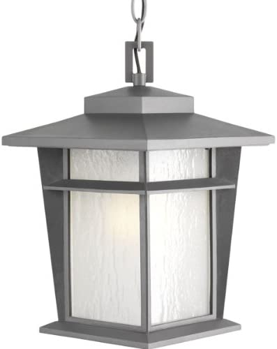 Progress Lighting P6521-136WB Transitional 1-Lt. Hanging Lantern w Bulb 9 from Loyal Collection in Gray Finish, Textured Graphite
