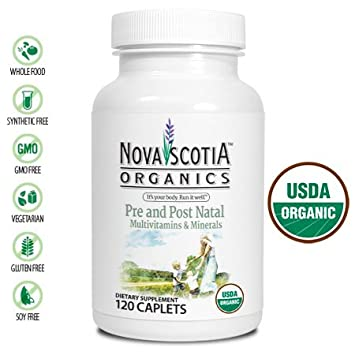 Nova Scotia Organics Prenatal and Post Natal Multivitamins & Minerals (120 Caplets); Certified
