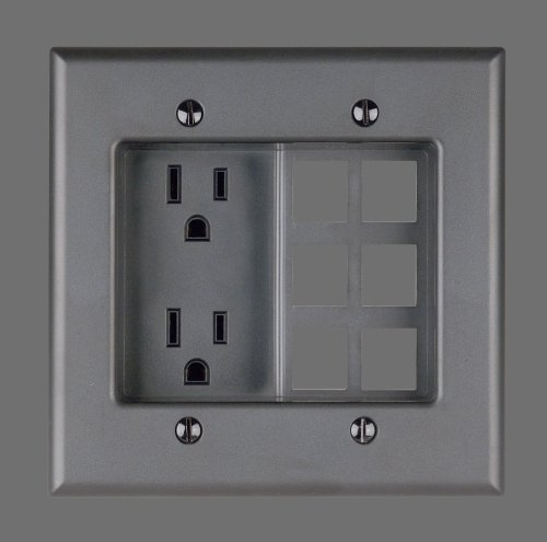 , 2 Gang Recessed Device with Duplex Receptacle and QuickPort Plate, Residential Grade, Ebony ()