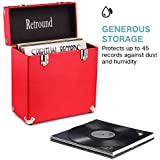 Victrola Vintage Retro Vinyl leather Record Storage Carrying Case For 45+ Records (Dust/Scratch Free) - Red-12Inch