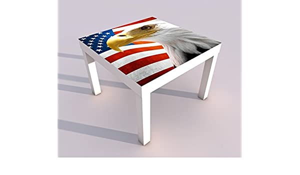Diseño - Mesa con UV Presión 55x55cm Águila Ee.uu. Bandera E. E. U. U. Águila Juego de Mesa Laca Mesas Imagen Habitación de Niño Mueble 18A007-55x55cm: Amazon.es: Hogar