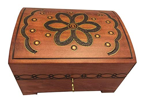 Handmade Wooden Chest Floral Pattern Polish Jewelry Keepsake Box w/Lock and - Pattern Floral Handcrafted