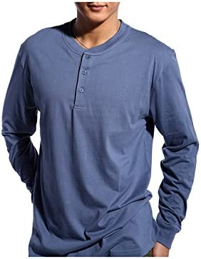 Godsen Mens Henley Shirt Long Sleeve Slim Fit with Button Placket