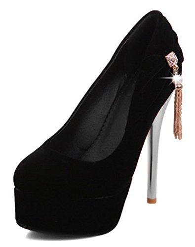 Idifu Mujeres Sexy Pendant Platform Spikes Stiletto Tacones Metálicos Slip On Pumps Negro