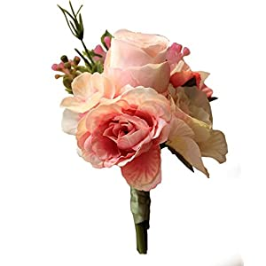 Zippersell Silk Boutonniere Flower,Bridegroom/Groom Best Men's Rustic Artificial Corsage for Wedding Prom Suit Decor Pink 2pc 55