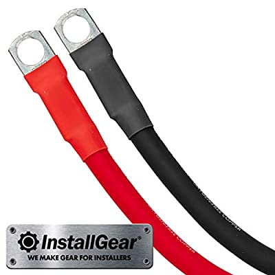 InstallGear 4 Gauge 2ft OFC Battery Power Inverter Cables for Solar, Auto, RV & Marine (Set): Car Electronics