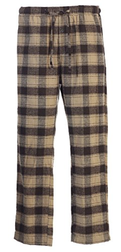 Gioberti Mens Flannel Pajama Pants, Elastic Waist, Khaki / Dark Brown, Small