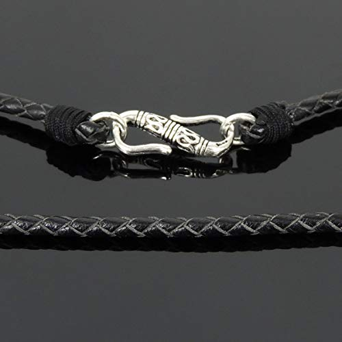 (Goth 90s Fashion Handmade Lucky Knotted Choker Necklace, Genuine Turkish Black Leather, S925 Sterling Silver S-Hook Clasp, Mens Womens, All Genders, Unisex Casual Wear, FREE Gift Box, Polishing Cloth)