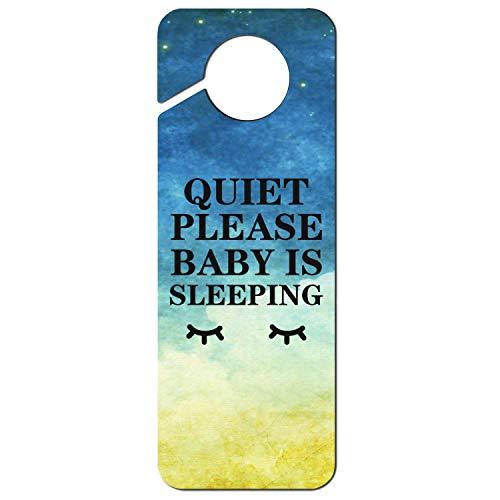 JWOJJUAW Quiet Please Baby is Sleeping-1 Plastic Door Knob Hanger Sign Warning Tag for Hotel Room Home Decoration