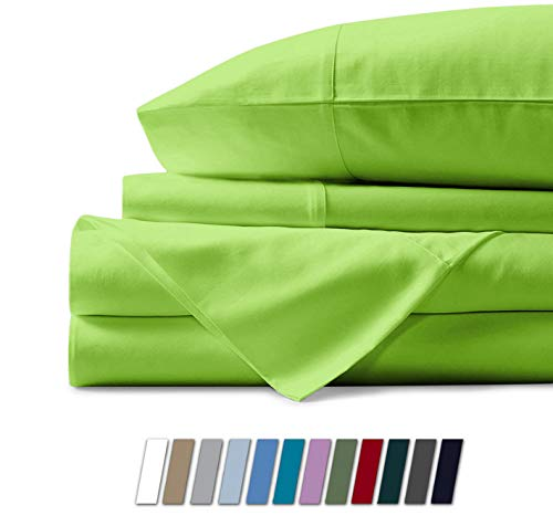Mayfair Linen Hotel Collection 100% Egyptian Cotton - 500 Thread Count 4 Piece Sheet Set - Color Parrot Green, Size Queen (1 Flat Sheet, 1 Fitted Sheet and 2 Pillow Cases)