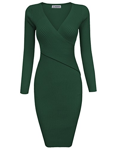 ylish Surplice Wrap Bodycon Knit Midi Dress TWCWD157-HUNTERGREEN-S (Green Surplice)