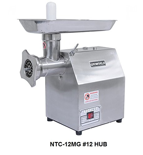 Uniworld Stainless Steel Commercial Meat Grinder w/250 lbs per Hour Capacity RPM Motor Blade: 1400/170 CE Approved NTC-12MG