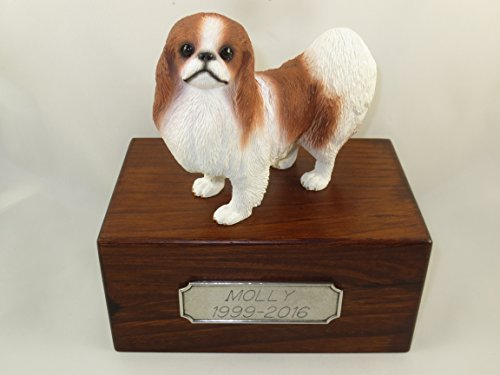 Beautiful Paulownia Small Wooden Urn with Red & White Japanese Chin Figurine & Personalized Pewter Engraving