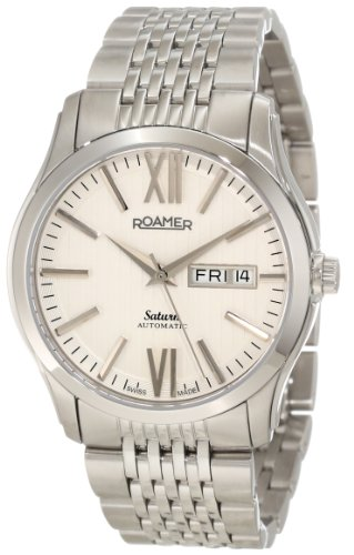 Roamer of Switzerland Men's 941637 41 13 90 Saturn Automatic White Dial Stainless Steel Date Watch