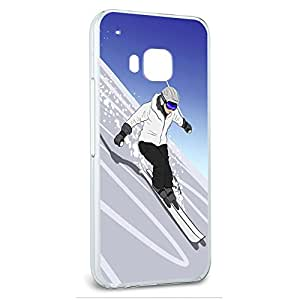 Snap On Protective Slim Hard Case for HTC One M9 Ski Skiing Snow Boarding - Skiing Down a Mountain - Skier Snow Skis