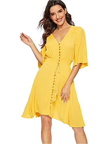 - Milumia Women's Boho Button Up Split Floral Print Flowy Party Dress Yellow Large