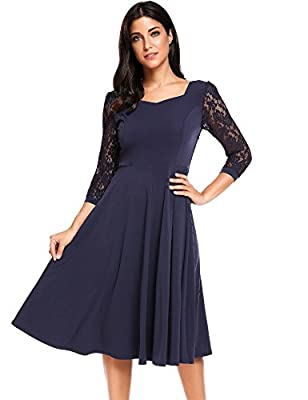ACEVOG Women's Lace Crochet 3/4 Sleeve Vintage Pleated Flare Midi Dress