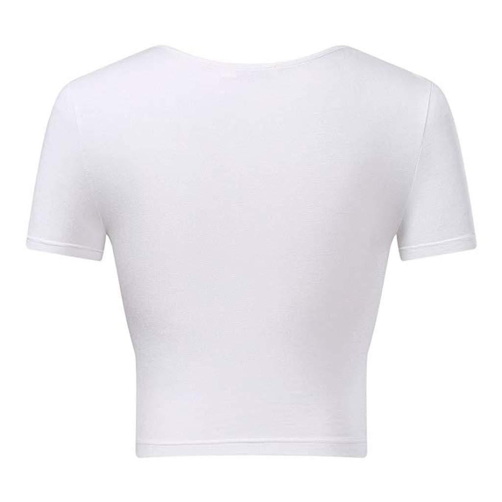 Crop Tops for Women BXzhiri Deep V Neck Short Sleeve Unique Slim Fit Coss Wrap Shirts White by Bxzhiri_Women Tops (Image #5)