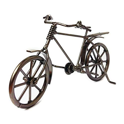 Antique Bike Model Metal Craft Home Decoration Vintage Mountain Bicycle Figurine Miniatures Birthday Toy Gifts Creative Crafts ~ Fanciante Professional Handicraft Works 17x6x11cm Gunmetal Gray -