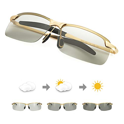 TJUTR Men's Photochromic Sunglasses with Polarized Lens for Outdoor 100% UV Protection, Anti Glare, Reduce Eye Fatigue (Gold Rectangular Frame/Grey Photochromic Polarized Lens)