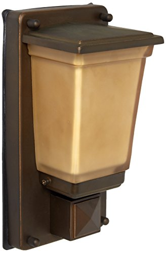 - Lighting by AFX GGWH113RBSCT Eureka Outdoor Sconce, Transitional Mission Style with Tea Stained Glass, 13W