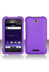 HHI ZTE X500 Score Rubberized Shield Hard Case - Purple (Package include a HandHelditems Sketch Stylus Pen)