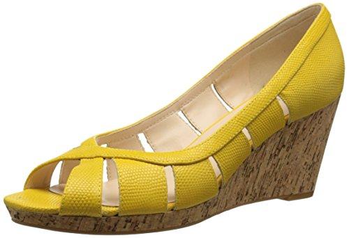 Nine West Women's Jumbalia Leather Wedge Sandal, Yellow, 6 M US