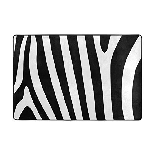 S Husky Large Area Rug Vintage Style Fashion Black White Zebra Pattern Abstract Animal Stripe Decorative Floor Mat Play mat Soft Children Crawl mat for Playroom Classroom 72 x 48 in 2041684 (Floor Black Tile White Zebra And)