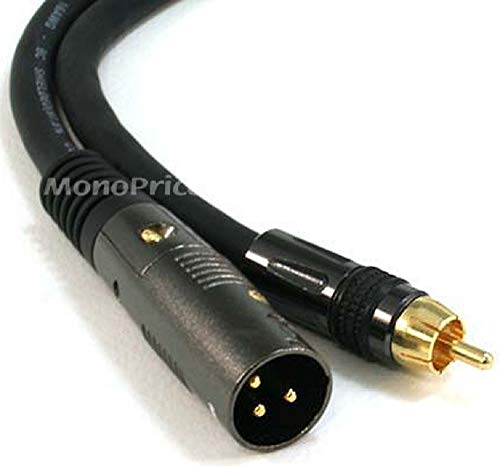 Monoprice XLR Male to RCA Male Cable - 6 Feet - Black with E21Gold Plated Connectors | 16AWG Shielded Twisted Pair Oxygen-Free Copper Braid Conductors - Premier Series, 104777