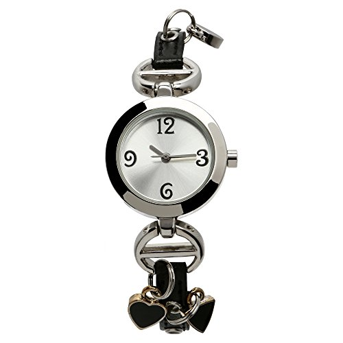 Womens and Girls Heart Charm Watch With Black Band and Round Stainless Steel Face