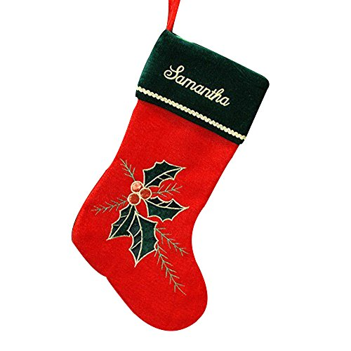 GiftsForYouNow Holly Leaves and Berries Personalized Christmas Stocking, 18.5