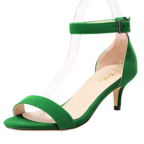 ZriEy Women Sexy Open Toe Ankle Straps Low Heel Sandals Velvet Green Size 8/38.5 M EU - Womens Green Mid Heel