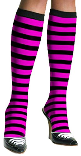 Pink And Black Striped Socks - 3