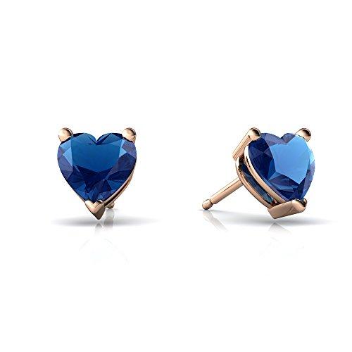 Topaz Jewel Rose - 14kt Rose Gold London Topaz 6mm Heart Heart Stud Earrings