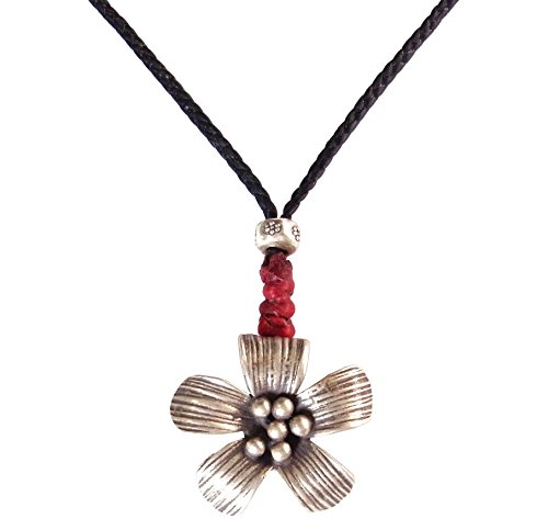 Price comparison product image LUN NA Asian Thai Handmade Flower Pendant Necklace Fashion Silver Black Red Wax String