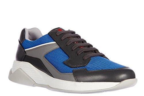 Prada chaussures baskets sneakers homme en Nylon plume bike blu