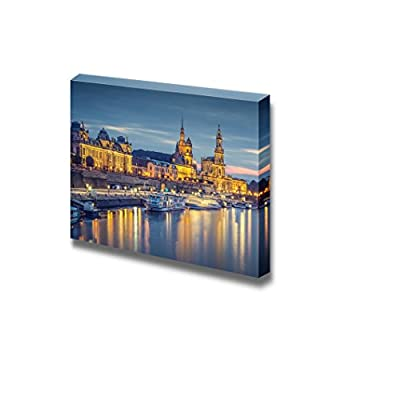 Canvas Prints Wall Art - Dresden, Germany Cityscape on The Elbe River at Night | Modern Wall Decor/Home Art Stretched Gallery Canvas Wraps Giclee Print & Ready to Hang - 16