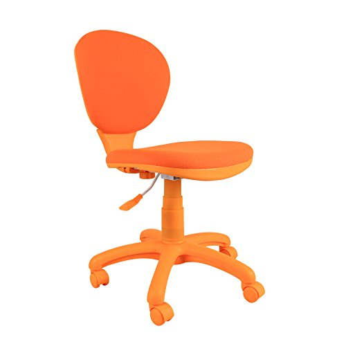Emall Life Mid Back Desk Chair 360° Adjustable Swivel Office Chair Armless  Fabric Task Chair (Orange)
