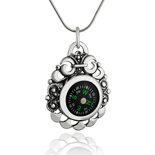 (FashionJunkie4Life Sterling Silver Working Compass Pendant Necklace w/Filigree Scroll Design, 18
