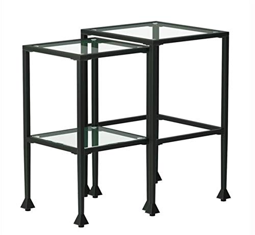 - 2-piece Glass and Metal Nesting Tables Black