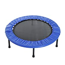 """Soozier Φ38"""" Foldable Mini Fitness Trampoline Home Gym Yoga Exercise Rebounder Indoor Outdoor Jumper with Safety Pad, Blue/Black"""