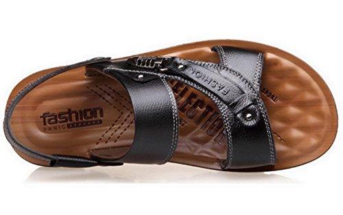 Vocni Mens Open Toe Casual Comfort In Pelle Sandali Sandali In Pelle Da Uomo Open Toe Per Uomo Nero
