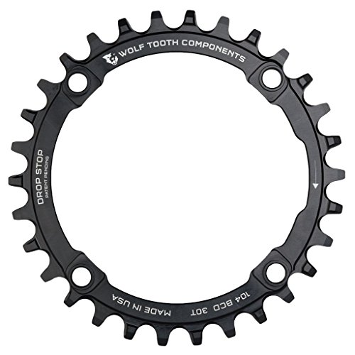 Wolf Tooth Components Drop Stop Chainring Black, 32T/104 BCD