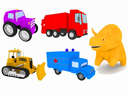 Learn colors with Dino the Dinosaur : the Trucks