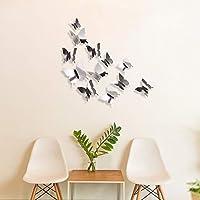 Plata BBTO 48 piezas DIY Espejo Mariposa Combinaci/ón 3D Mariposa Pared Adhesivos Adhesivos Decoracion del Hogar